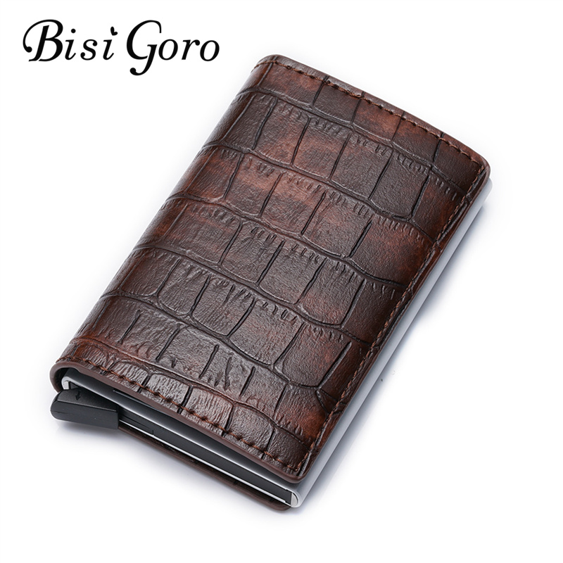 Bisi Goro 2019 New RFID Credit Card Holder Single Box Men And Women Metal Vintage Aluminium Box Travel Card Wallet Dropshipping