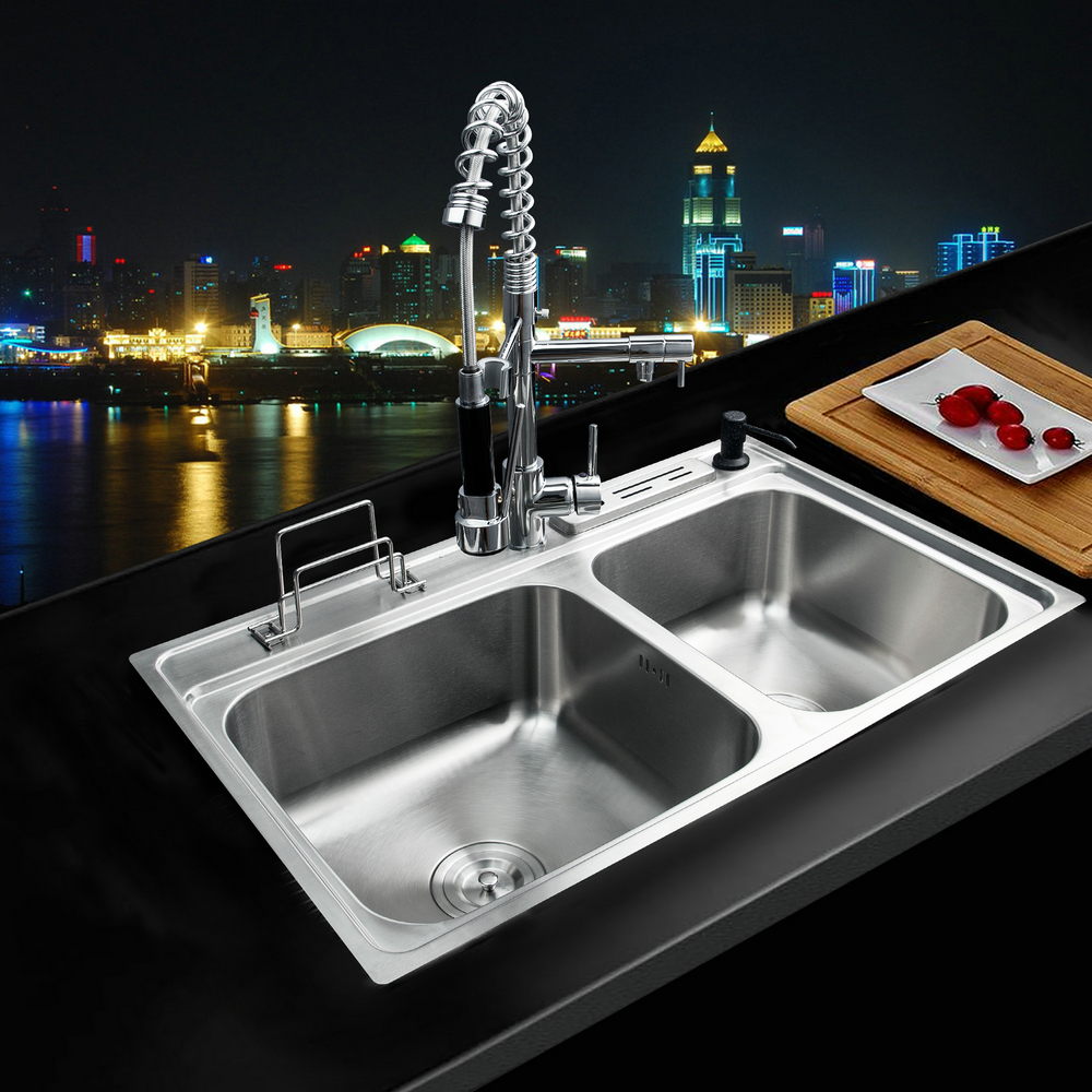 yanksmart 80x50x21cm stainless steel kitchen sink vessel faucet set double bowl kitchen sink undermount kitchen washing - Kitchen Sink And Faucet Sets