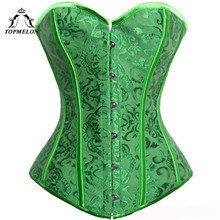 TOPMELON Corselet Sexy Corset Women Steampunk Corsets and Bustiers Bustier Gothic Green Floral Club Show Party Plays Tops