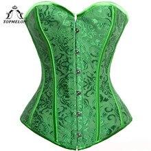 TOPMELON corsé Steampunk para mujer, corpiño, corpiño, verde, gótico, Floral, fiesta