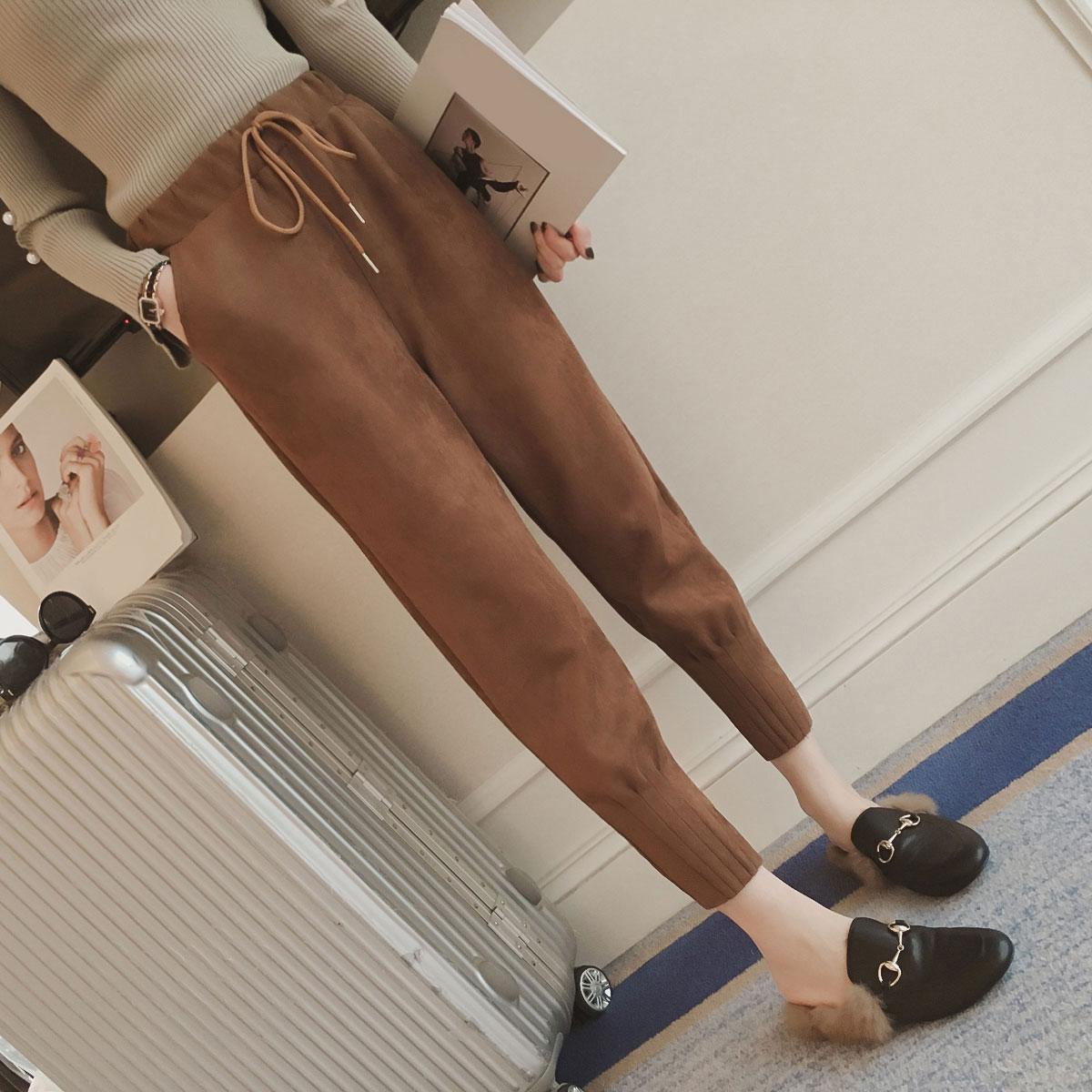 Suede high waist pencil   pants     capris   Women bottom sash streetwear casual   pants   2017 Autumn chic black winter trousers