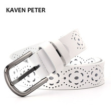 White Woman Belt With Hollow Flower Fashion Genuine Leather Belt