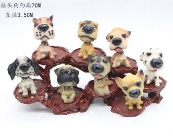 Resin 7CM height H 8 famous resin dog puppy + display frame statues Home wedding decoration Creative Animal Ornament dolls