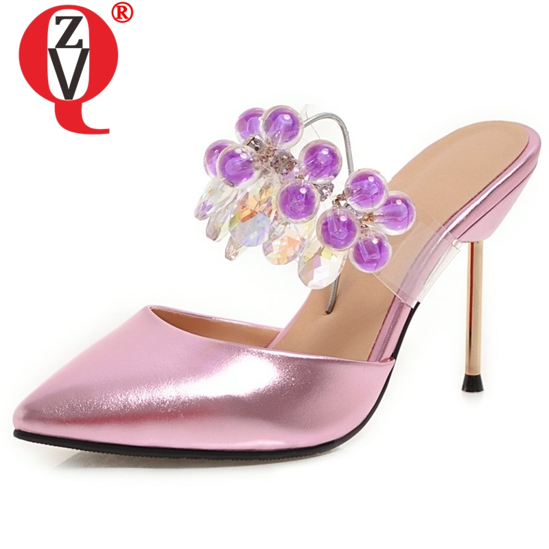 ZVQ women pointed toe fashion high heel slippers good quality woman brand thin heels slides 2019