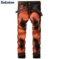 Sokotoo Мужская Мода Orange черным принтом повседневные джинсы Slim из эластичного денима обтягивающие узкие брюки длинные брюки