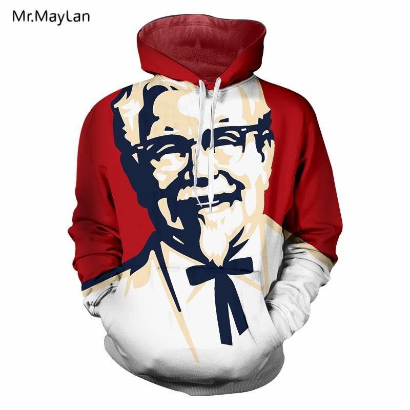 Hipster Design KFC Grandpa Print 3D Hoodies Men Hiphop Streetwear Long Sleeves Pullover Sweatshirts Tracksuits Sudaderas Hombre
