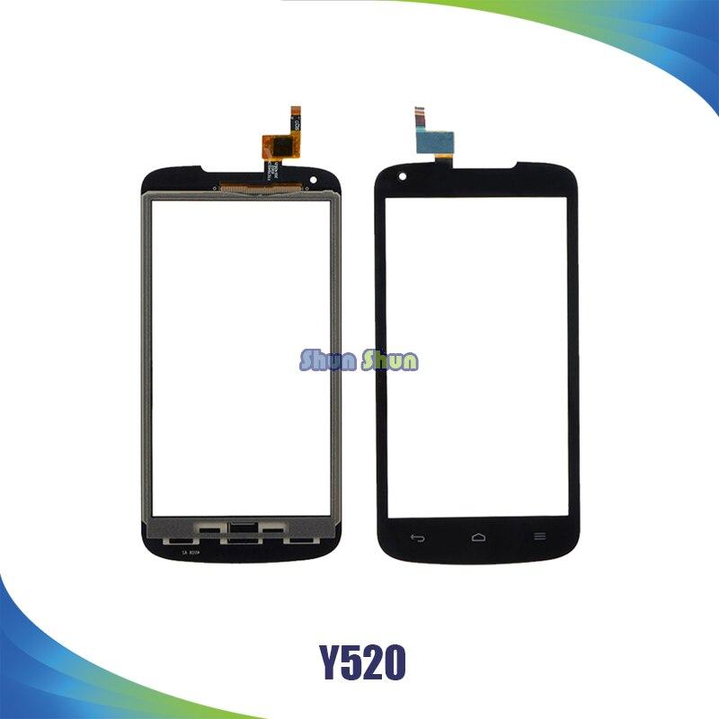 4.5 ''Y520 Tactile Écran pour Huawei Ascend Y520 Écran Tactile Digitizer Capteur En Verre Panneau Objectif Blanc Noir Téléphone Pièces