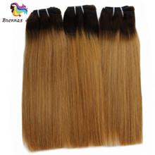 Ombre 2 Tone Double Drawn Human Hair Straight Hair Weave 1b 27 Brzilian Fumi Funmi Straight Human Hair 3 Bundles Remy Extensions(China)