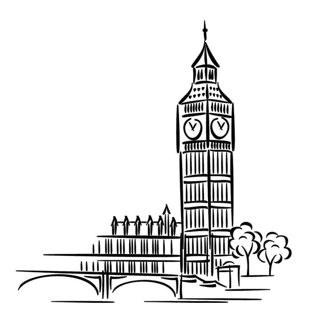 London Landmark Building Cartoon Big Ben Wall Sticker Home