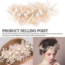 Korean Hair Ornament Silk Yarn Flower Headdress Beauty Pearl Floral Wedding Accessories for Women Sweet Girls