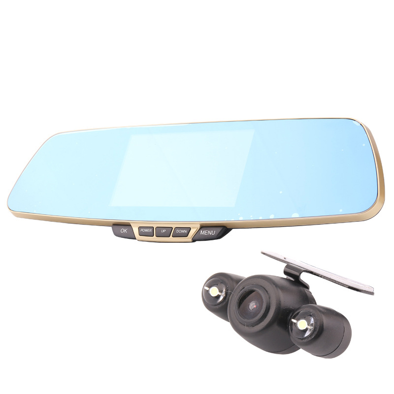 5-inch large-screen high-definition 1080p night vision car detector dual lens blue mirror G-sensor dash cam DVR driving recorder findfine 1 5 inch screen ltps tft lcd 4x digital car driving camera video recorder dvr night g sensor sos m867