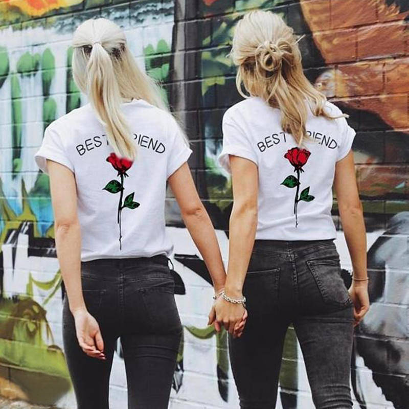 Fashion Best Friend   Shirts   Women Short Sleeve   t     shirt   BFF Top Sisters Gifts for Friends Tees for Her