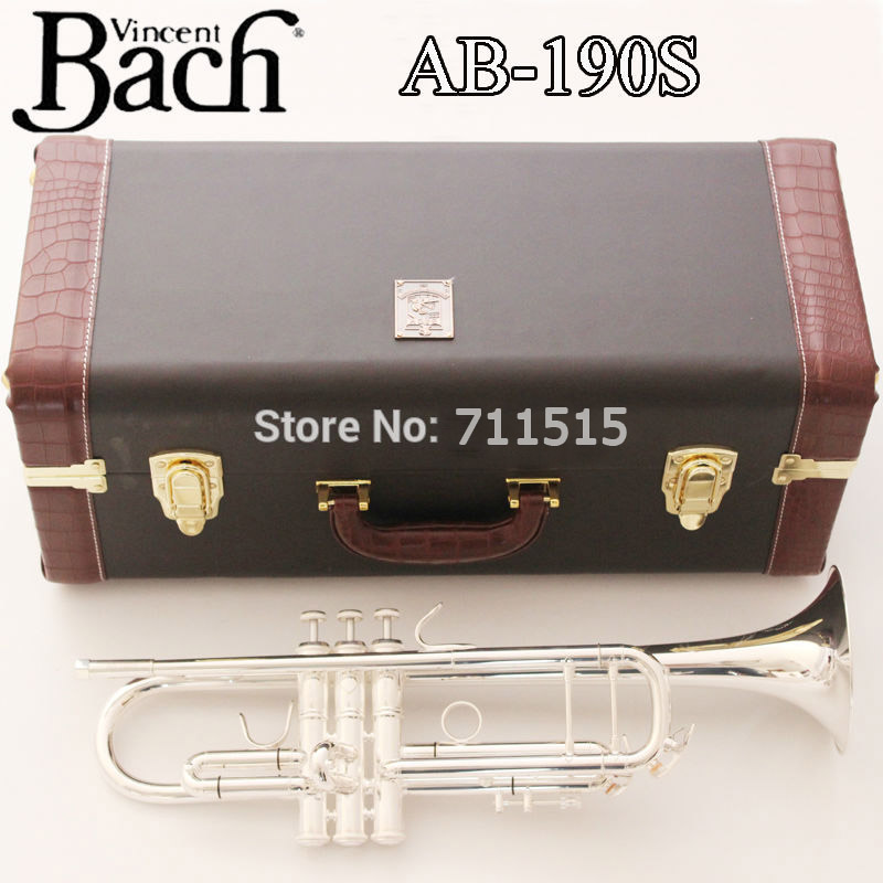 New Silver Bach Trumpet AB-190S Bb Double Silver Plated Trompeta Profissional Instrumentos Leather Case with Mouthpiece new genuine americano top bach trumpet gold and silver plated silver ab 190sbach small musical instruments professional