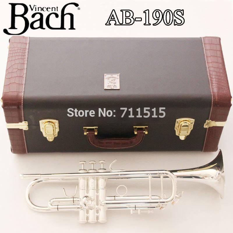 New Silver Bach Trumpet AB-190S Bb Double Silver Plated Trompeta Profissional Instrumentos Leather Case with Mouthpiece флешка usb sandisk cruzer edge 32гб usb2 0 красный и черный [sdcz51 032g b35]