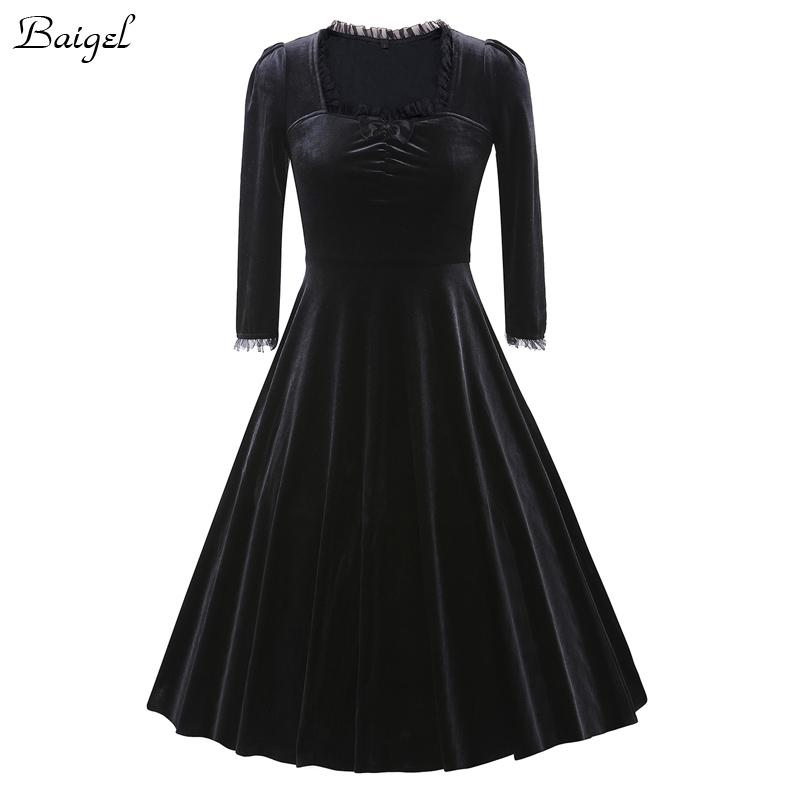 Womens Winter Long Sleeve Velvet Dress Black Red Purple Vintage 40s 1950s 60s Style Rockabilly Swing Party Dresses Plus Size 3XL (4)