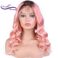 Dream Beauty Brazilian Remy Humar Hair Lace Front Hair Wigs omber Pink color Glueless Lace Wigs with Baby Hair bleached knots