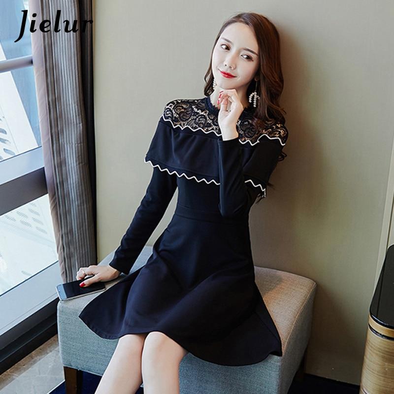 27f1a25edc0c ... Jielur Korean Lace Ruffles Long Sleeve Dresses Autumn Winter S-XL Female  Vestido Vintage A ...