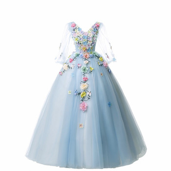 Trajes De Quinceaneras 2019 New V Neck Long Sleeve Quinceanera Dresses Lace Flower Plus Size Lace Up Custom Made Prom Gown L