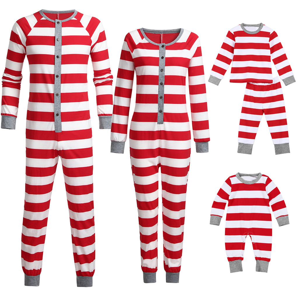 Plus Size Christmas Pajamas.Us 4 6 30 Off Women Mom Family Xmas Jammies Striped Holiday Matching Pajamas Long Jumpsuits Plus Size Christmas Matching Family Pajamas In Matching