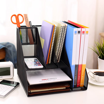 Creative Practical Desktop File Holder Tray Metal filing Box Office File Magazines Document Desk Organizer Shelf kingfom 3 slots document tray file organizer file holder for office