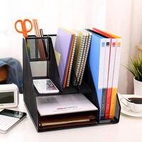 Creative Practical Desktop File Holder Tray Metal filing Box Office File Magazines Document Desk Organizer Shelf