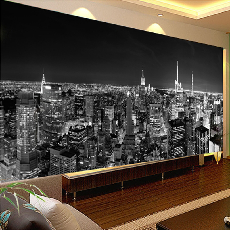Custom photo wallpaper mural night view new york city for Black and white new york mural wallpaper