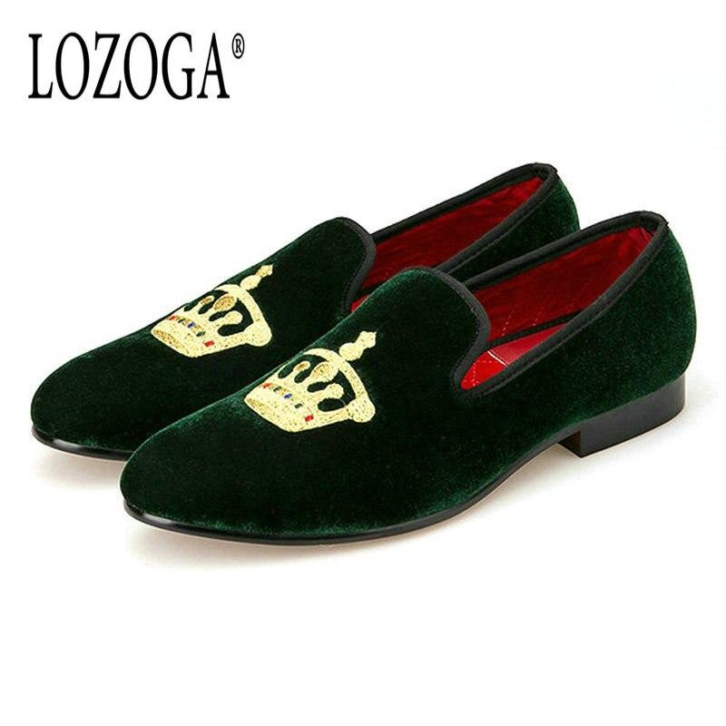 Lozoga продажи Мужская обувь Лоферы модные Бархатные Повседневная обувь слипоны зеленый обувь для вечеринок роскошные качество оригинальный