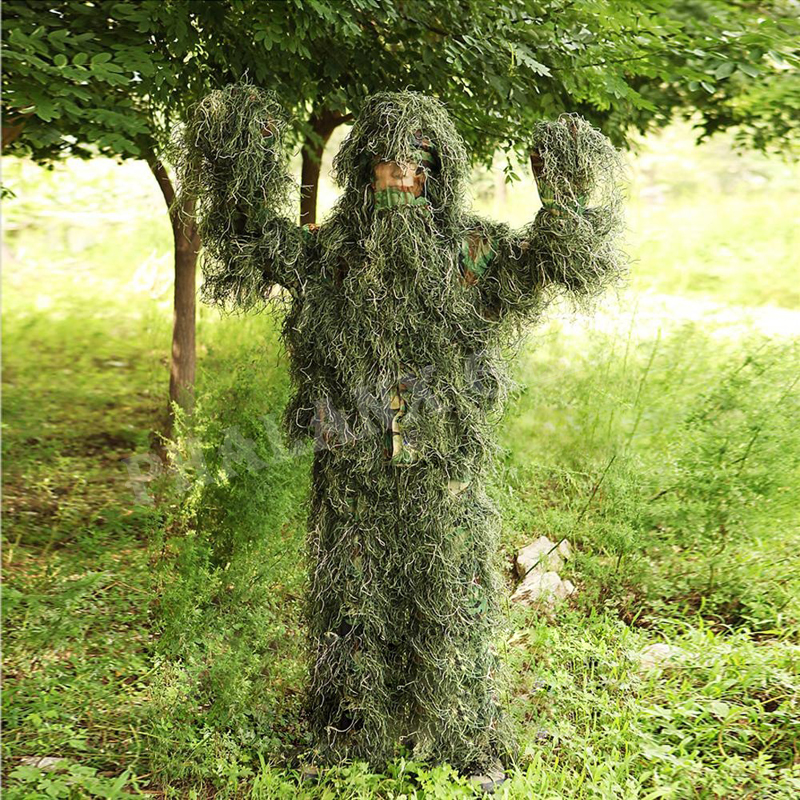 Hunting sniper tactical war game jacket Ghillie Suit - Adult3D Hunting Sniper Paintball Airsoft Woodland Camo/Camouflage airsoft adults cs field game skeleton warrior skull paintball mask