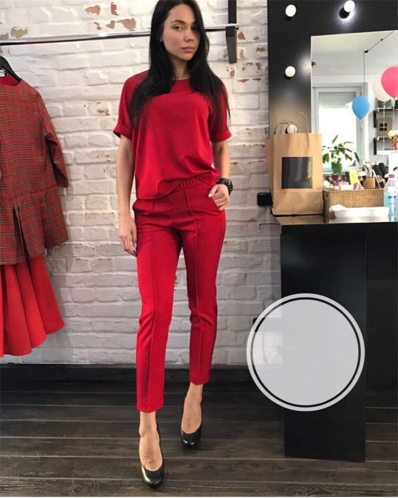 Fashion casual suit 2018 summer wear short sleeved jacket, western style, Nine minutes of pants, two sets of small pants 9