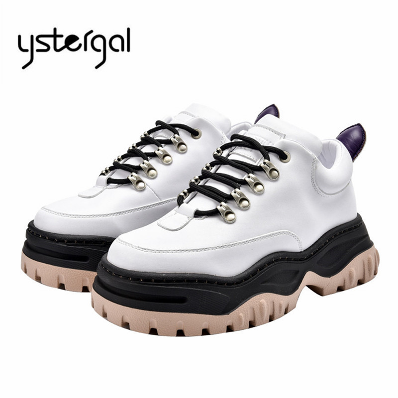 Ystergal White Genuine Leather Women Sneakers Platform Creepers Ladies Lace Up Casual Flat Shoes Woman Espadrilles