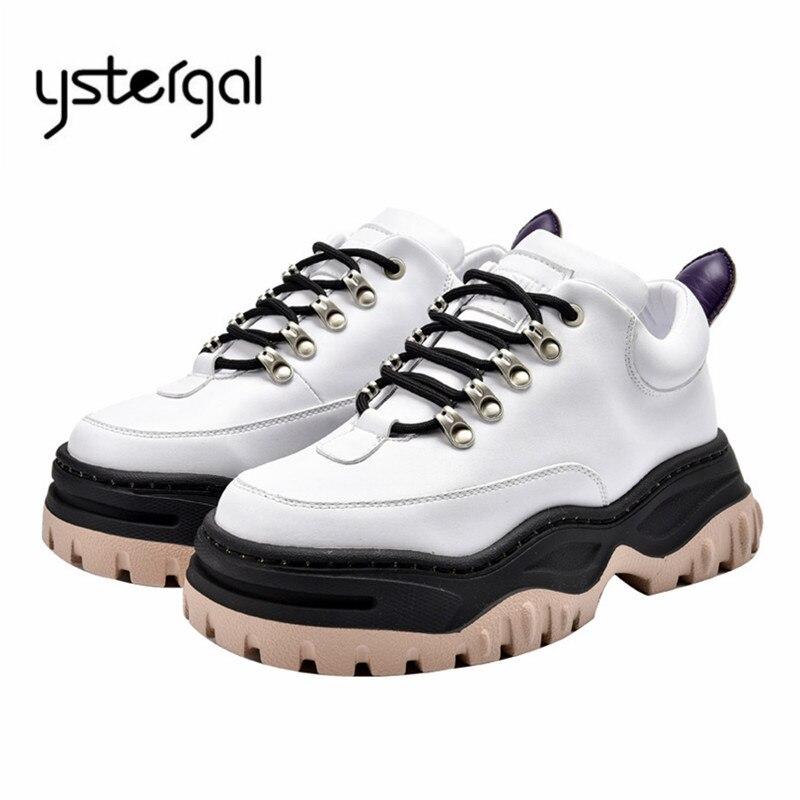 Ystergal blanco cuero genuino mujeres zapatillas plataforma Creepers señoras encaje Up Casual zapatos planos mujer Alpargatas zapatillas-in Zapatos planos de mujer from zapatos    1