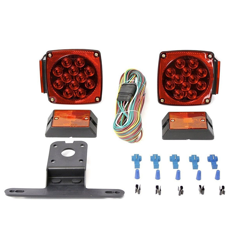 Rear Led Submersible Trailer Tail Lights Kit Boat Marker Truck Round Waterproof for trailers under 80 inches in width