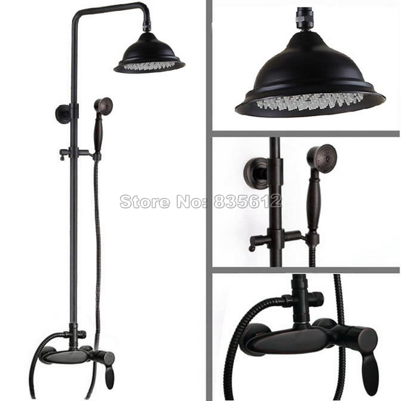 Black Oil Rubbed Bronze Luxury Bathroom 8.2 inch Rainfall Shower Faucet Set + Hand Spray + Single Handle Mixer Taps Wrs431Black Oil Rubbed Bronze Luxury Bathroom 8.2 inch Rainfall Shower Faucet Set + Hand Spray + Single Handle Mixer Taps Wrs431