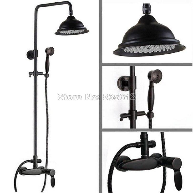 Black Oil Rubbed Bronze Luxury Bathroom 8.2 inch Rainfall Shower Faucet Set + Hand Spray + Single Handle Mixer Taps Wrs431