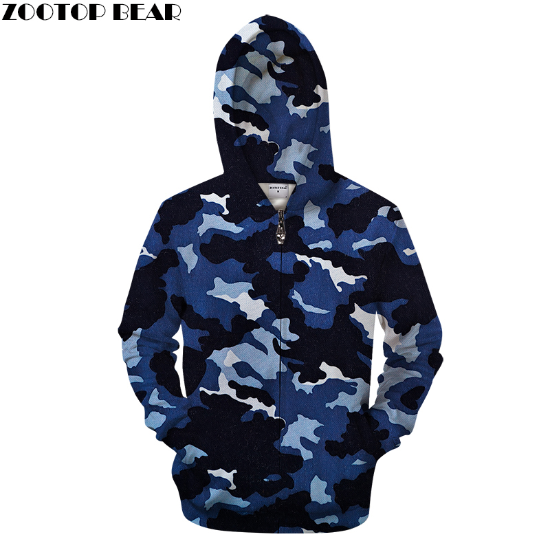 Navy Blue Camo 3DPrint Hoodies Men