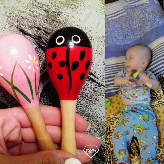 1PCS Colorful Baby Rattle Mobiles Wooden Ball Toy Sand Hammer Hand Rattles Kids Musical Instrument Percussion Toy YLT01 5