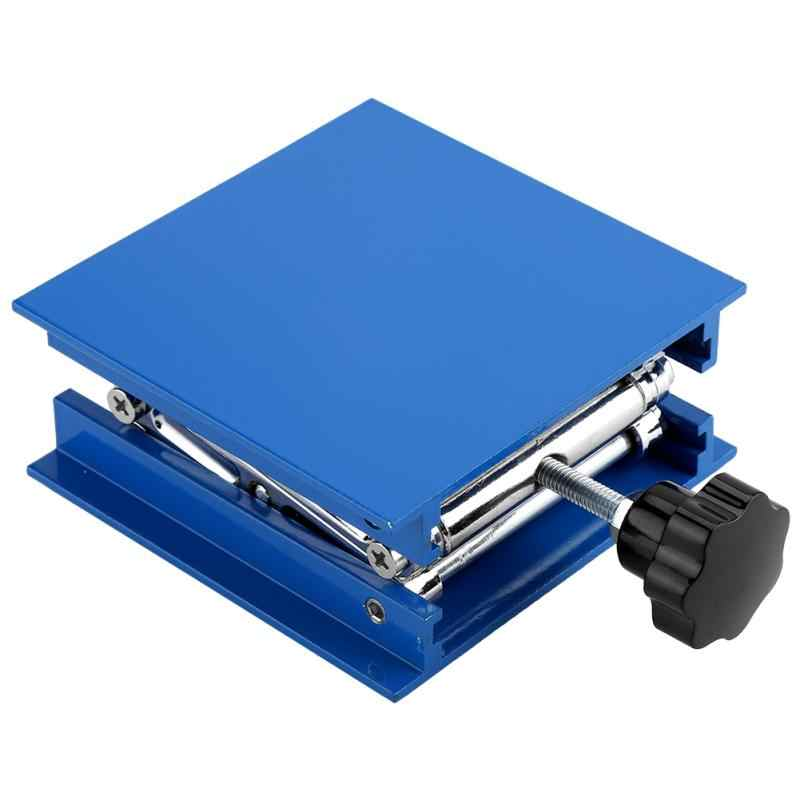 100x100 мм синий Electroplated Алюминий лаборатории подъема стойки Scissor Джек атлет лаборатории подъемная платформа микроскоп лаборатории Jack