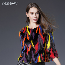 2016 New Fashion Women Fur Coat Colorful Short Section Fight Mink Sleeve Women Female Noble Luxury Real Fur Coat High Quality
