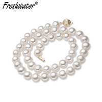 Good quality genuine natural freshwater pearl necklace mother,14k gold clasp round pearl necklace anniversary gift
