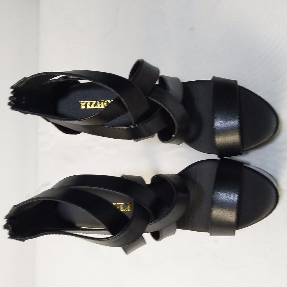 Plus ขนาดใหญ่ Cutout รองเท้า 15cm ส้นสูง 6 นิ้วแฟชั่นรองเท้าแตะ Queen Punk Gladiator เซ็กซี่รองเท้า-ใน รองเท้าส้นสูง จาก รองเท้า บน   3
