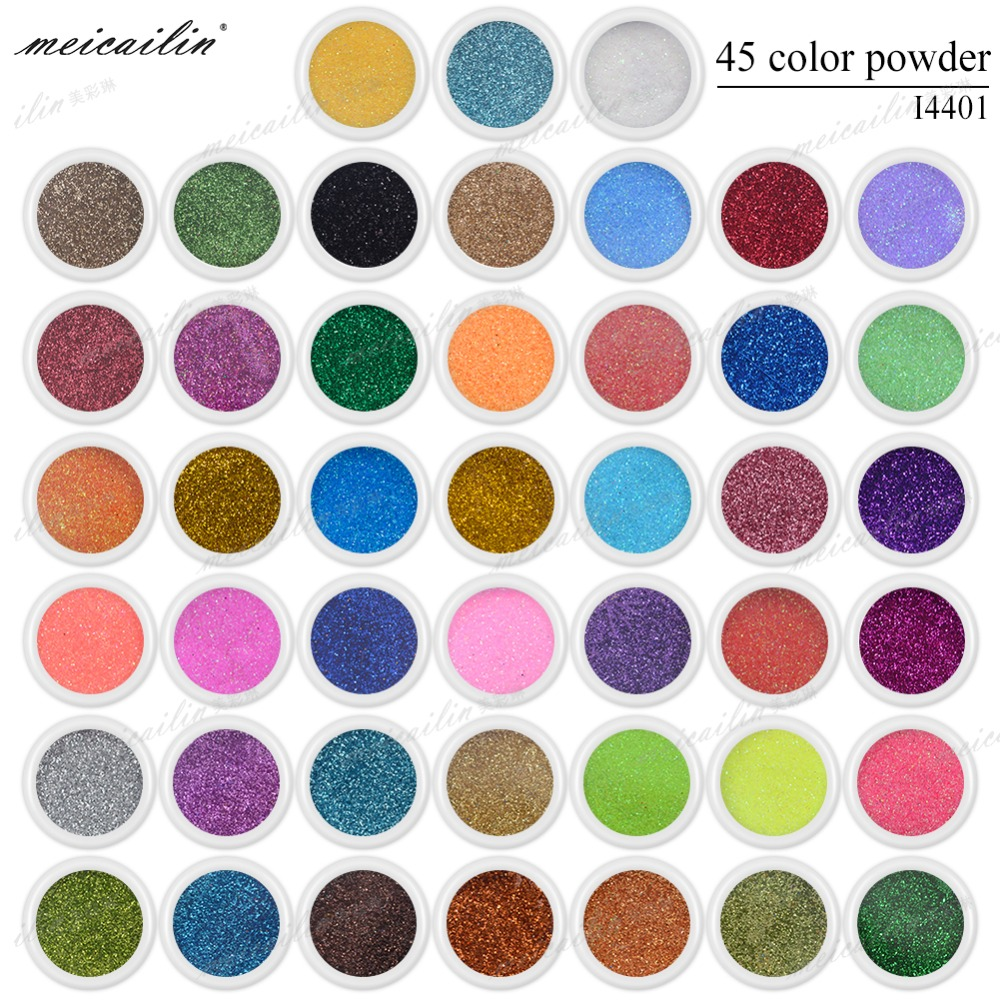 Meicailin 45 Bottles/Set Nail Glitter Nail Powder for Paillettes  Nail Art Extra Ultra Fine Glitter Dust Powder Tips Body Crafts 24 bottles 3d colorful shiny nail glitter powder sequins manicure festival nail art decorations for women