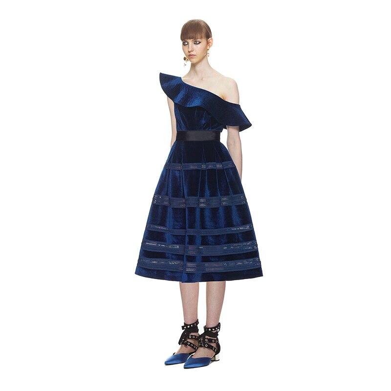 Femmes Portrait Ruches Profond Auto Midi Robe Bleu Velours Épaule Robes Une Partie Sexy Printemps 2018 Élégant Rw6Pqfwd