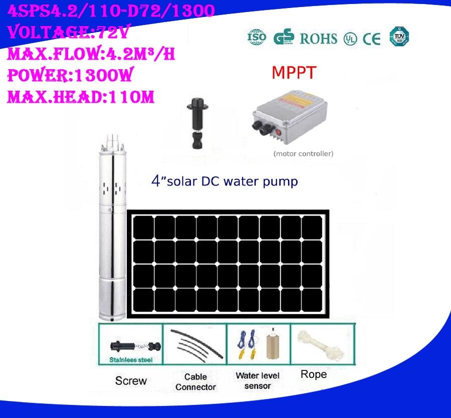 3 jahre Garantie 1 zoll Outlet Solar Hochdruck Pumpe Brunnen Pompe Solaire Für Teich 4SPS4. 2/110-D72/1300