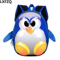 Enfants de sac à dos 3D sac d'école mochila escolar menino maternelle sacs d'école pour les filles petit pingouin sac à dos pour enfants sac