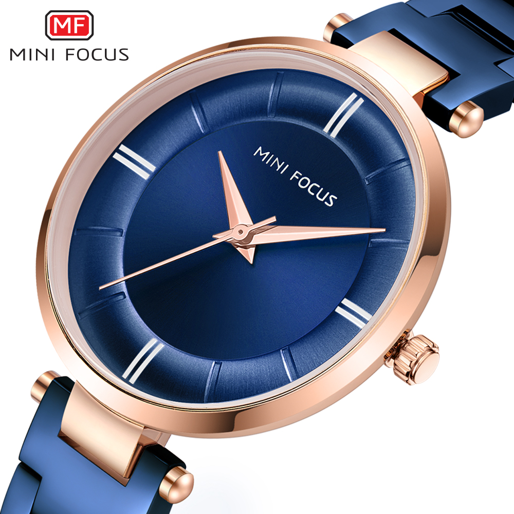 MINIFOCUS Women Fashion Blue Quartz Watch Lady Stainless Stee Watchband High Quality Casual Dress Wristwatch Gift For Ladies