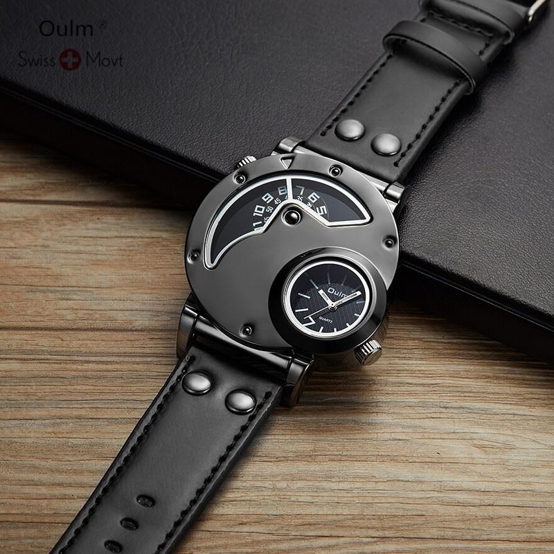 Oulm Мужские часы 2018 Relogio Masculino Мужские часы Роскошные знаменитые Брендовые спортивные часы военные кварцевые мужские наручные часы Saat