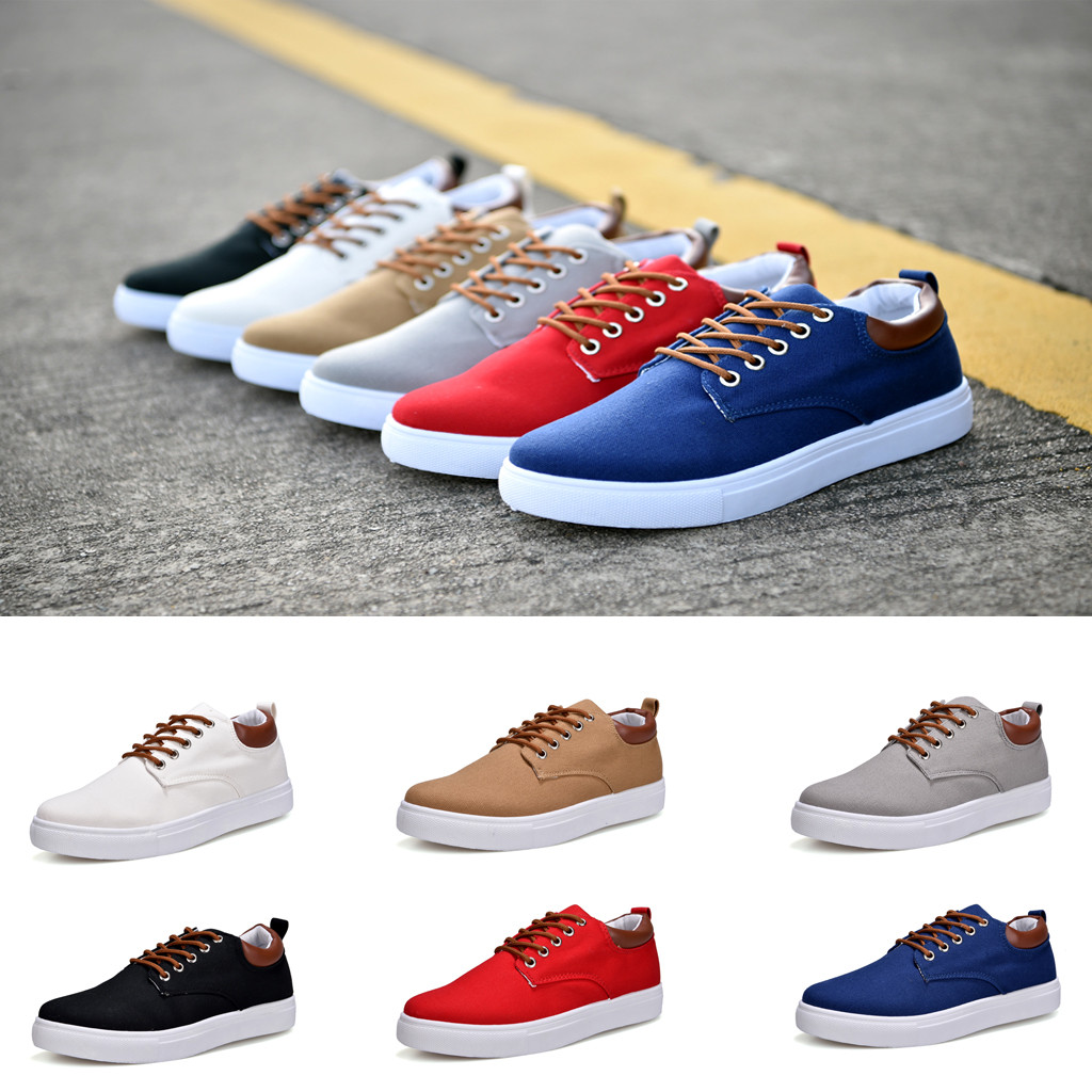 CHAMSGEND Shoes Tie-Sneakers Korean-Version Casual New Fashion The of Men Low Help Tide title=