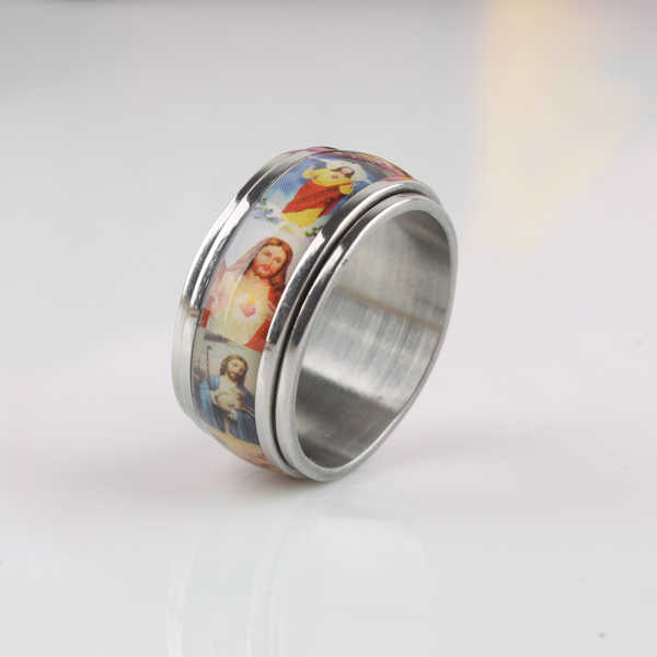 free shipping Jesus Oil painting Double Layer Rotation rings 316L Stainless Steel finger ring men jewelry  wholesale