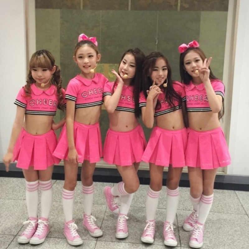 639a809e0440 ... Детский красный костюм болельщика, танцевальное платье для девочек,  современные танцевальные костюмы для детей ...