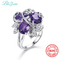 L Zuan 925 Sterling Silver Natural 4 67ct Amethyst Purple Stone Prong Setting Ring Jewelry For